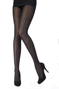 Pretty Polly Net Collection Vertical Pattern Tight One Size Black - PNAUZ1