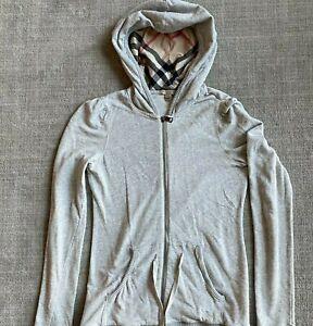 Burberry Brit Women's Size Medium M Gray Full Zip Hoodie Light Weight Jacket