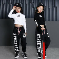 Girls Children Lumbar Jazz Hip Hop Dancewear Kids Dance Costumes Top&Pants