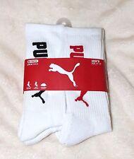 NEW 6 Pack Men's Athletic PUMA Socks Crew White 10-13 Fits Shoe 6-12 P105422-107