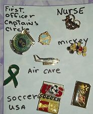 Lot of 8 Pins Mickey Mouse Olymics Soccer Air Care Plane Nurse Captain Circle &