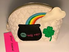BETSEY JOHNSON KITSCH COSMETIC MAKEUP BAG QUILTED OVER THE RAINBOW KISS ME IRISH
