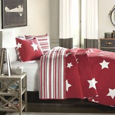 RED & WHITE STAR ** King ** QUILT SET : COTTON STRIPE COUNTRY CABIN BOYS KID BED