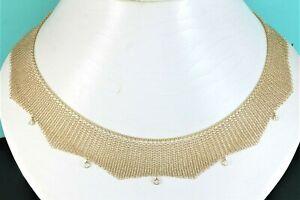 $12,000 Tiffany Co Elsa Peretti 18K Yellow Gold Bezel Diamond 16'' Mesh Necklace