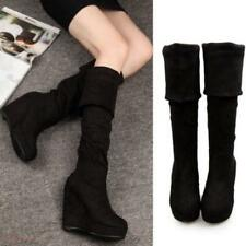Women's fur Over The Knee High Boots Faux Suede Wedge Heel Platform Shoes size