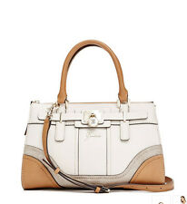 NWT GUESS Greyson Satchel Handbag Purse Color-blocked Off White Brown