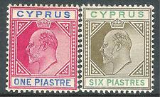 Cyprus1904 carmine/blue 1p sepia/green 6p multi-crown CA mint SG64/67