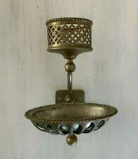 Antique Nickel Brass Beaded Cup Sponge Holder Soap Dish Silvers Co. Vtg  77-20J