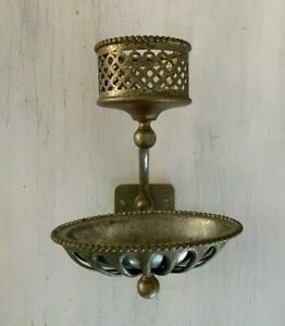 Antique Nickel Brass Beaded Cup Sponge Holder Soap Dish Silvers Co. Vtg  77-20J