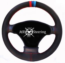 FOR BMW Z3 1995-2002 REAL BLACK GRAIN LEATHER STEERING WHEEL COVER M3 STRIPES