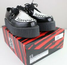 """T.U.K. Black White Leather Mondo 2"""" Double Sole A6804 Round Creepers Shoes M 8"""
