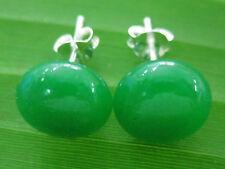 """REAL 925 sterling silver """"10mm flat GREEN JADE"""" studs EARRING - TEEN GIRL WOMEN"""