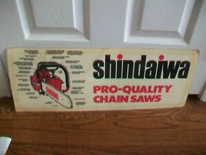 """Vintage Shindaiwa Chainsaw Double sided laminated poster board 24"""" x 9"""" sign"""