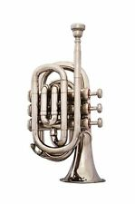 GUARANTEE QUALITY SOUND BAND APPROVED SILVER Bb FLAT POCKET TRUMPET+W/CASE+M/P