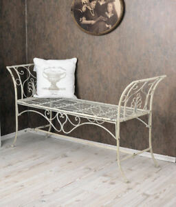 Garden Bench Shabby Chic Bench White Metal Bench Country Style Lounger Garden