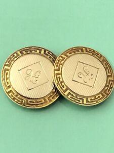 """SCRAP PRICE! Edwardian 14k yellow & white gold """"H"""" single cufflink JL 072621aFB"""