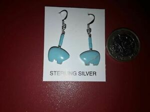 Turquoise Zuni Bear Earrings with Sterling Silver hooks - Authentic Navajo craft