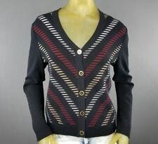 ST John Sport Medium Button Down Cardigan Sweater Golf Textured Black Multi