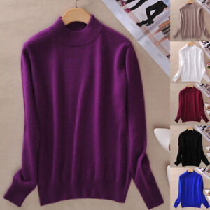 Women Winter Warm Knitted Soft Cashmere Wool Slim Pullover Jumper Sweater Top