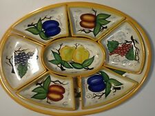 """Large Bella Casa by Ganz Valerio 19"""" Platter 8 Set Appetize Fruit Serving Dish"""