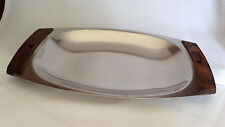 Gense Sweden SERVING PLATE STAINLESS STEEL Mid-Century Tray wood handles 11.5 in