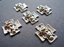 Christ / Cross / Jesus 3D Pendants / Charms - Antique Silver - Set of 5