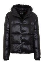 Superdry Shiny Padded Jacket Hooded Warm Winter Puffer Coat Shine Black