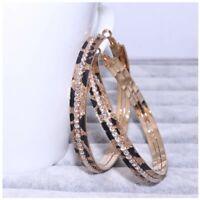 9ct Gold Filled Leopard Print Topaz 3cm hoop earrings