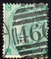 1865 Sg 101 1s green 'LC' Plate 4 with 466 Liverpool Duplex Cancellation