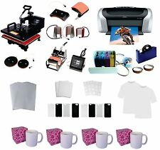 USED 8in1 Professional Sublimation Heat Press Machine Epson Printer C88 CISS KIT