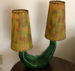 Vintage Stylized Saguaro Cactus Ceramic Table Lamp with Paper Shades