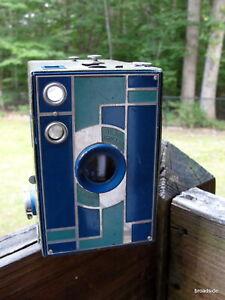 No. 2A  Kodak Beau Brownie BLUE art deco camera  - Walter Dorwin Teague