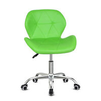 Neo/® PU Leather Cushioned Computer Office Desk Chair Chrome Legs Lift Swivel Small Adjustable Black
