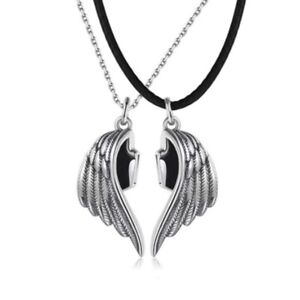 2 Angel Wing Couple Magnetic Necklace Lovers Distance Heart Chain Pendant Gift