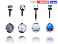 Opal Stone Gem Belly Ring Surgical Steel Navel Belly Button Bar Body Piercing