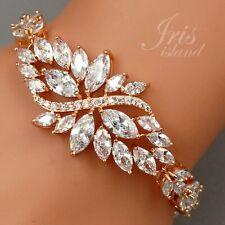 ROSE GOLD Plated Clear Cubic Zirconia CZ Bridal Wedding Tennis Bracelet 07527