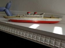 ANTIQUE Arnold Tinplate boat 1950s. 42cm long. Made in West Germany