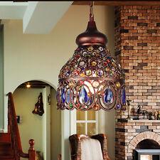 Tiffany méditerranéen style motif fleur Plafonnier Verre Teinté lustre