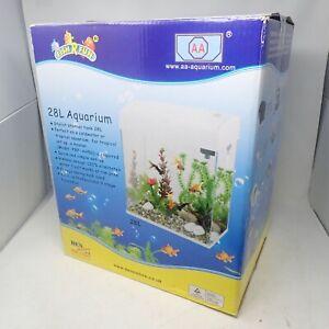 Black 28L 37 x 23.5 x 43.5cm Glass Aquarium Unused With Filter, Pump and Extras