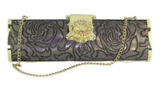 Dorothy Perkins Black & Gold Evening Clutch Baguette Bag with Gold Chain