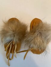 Vintage Handmade Western Baby Leather & Fur Moccasins Shoes Size 1-2 Wycoa Ind.