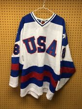 Vintage 1980's Style Team USA Hockey Jersey Olympic White K1 Sewn Adult Size XL