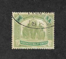 Malaya 1907 Federated Malay States Scott 34 SG 48 $1 Stamp Elephants VF !   