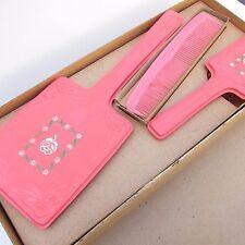 Vintage Plastic Vanity Set Pink Floral Dresser Mid Century Retro in Box Mirror