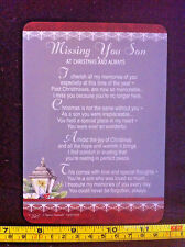 Missing You Son At Christmas And Always Poem Plastic Gift Card New