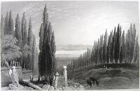 Istanbul, USKUDAR Karacaahmet CEMETERY CYPRESS TREES ~ 1839 Art Print Engraving