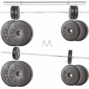 Hantelset 150cm Langhantel mit Gewichten 30kg 20kg 40kg bis 100kg Langhantelset