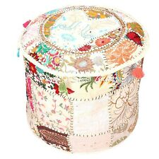 Ethnic Round Footstool Pouffe Cover White Patchwork Cotton 16 Inch Embroidered