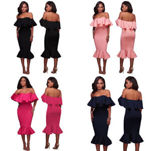 Strapless Ruffle Off Shoulder Midi Mermaid Skirt Formal Cocktail Party Dress