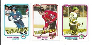 1981-82 Topps Hockey:Lot of 3 diff. 'stars'(Stastny RC/Savard RC/Cicarelli RC)